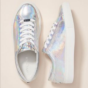 J/Slides Lacee Holographic Metallic Sneakers 7